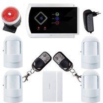 Security GSM-SMS vezeték nélkül lakásriasztó okostelefon 4db PIR
