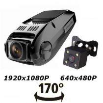 170 fokos nagy látószögű autós kamera Full HD két kamerás