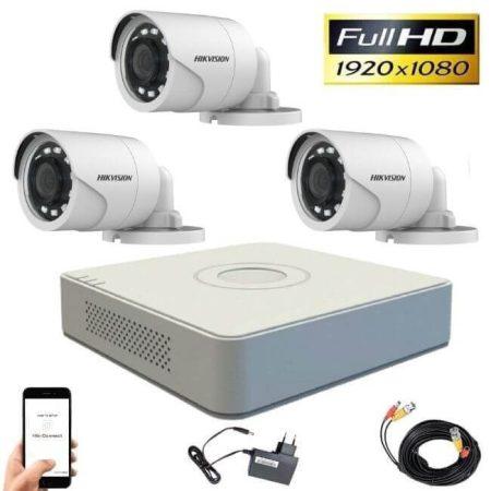 Hikvision 720P TurboHD 3 kamerás bullet kamera rendszer