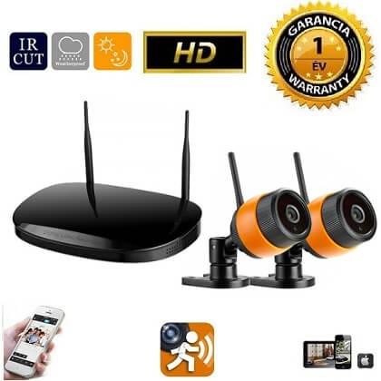 Vezeték nélküli IP kamera rendszer 2db HD WiFi kamerával fekete-narancs